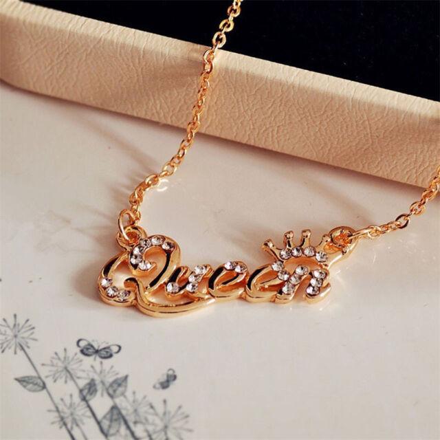 8bcfe64cf48e9 Fashion Letter Queen Necklaces Pendants Gold Rhinestone Crystal Pendant  Necklace