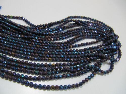 Naturel Noir Spinelle Mystic Bleu Enduit Blotter à Facettes Perles 3 mm Strand 13 in environ 33.02 cm