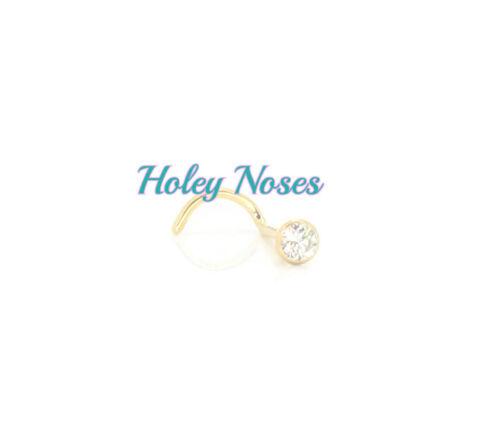 9ct Yellow Gold Diamond Nose Stud Ring Bone Pin Coneset 0.05ct body jewellery