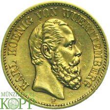 G307) J.290 WÜRTTEMBERG 20 Mark 1873 F Karl 1864-1891 Gold