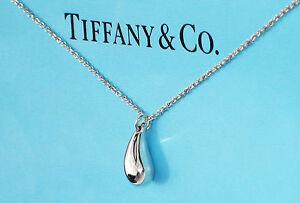 635525a77 Tiffany & Co Elsa Peretti Sterling Silver Teardrop Pendant Necklace ...