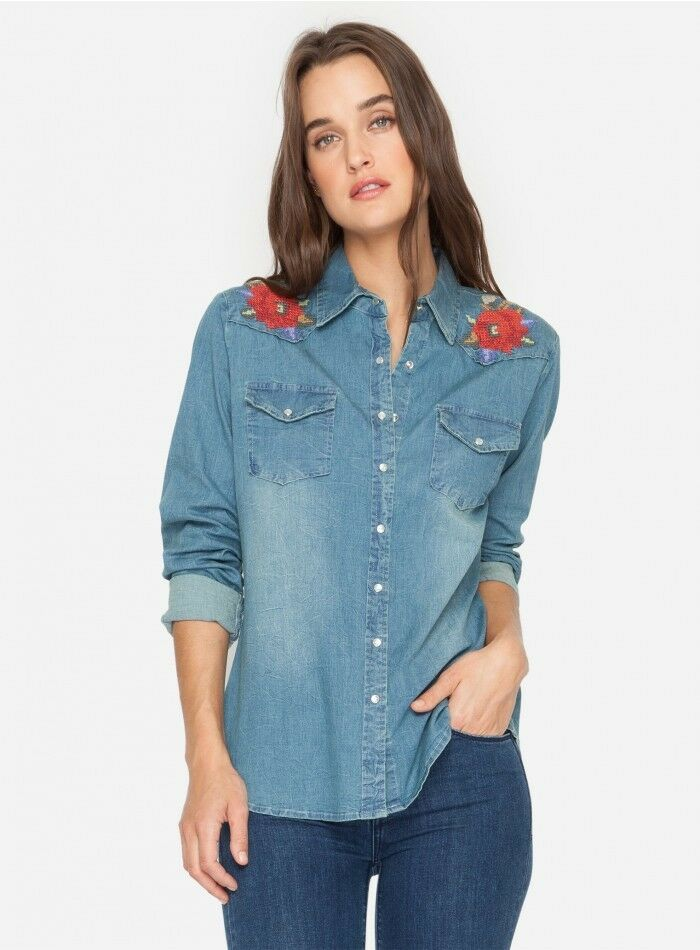Johnny Was 3J Workshop Cecily Western denim embroidered shirt NWT S