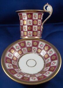 Antique-French-Paris-Porcelain-Cup-amp-Saucer-Porcelaine-Vieux-Old-France-Tasse
