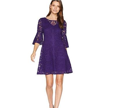 Gabby Skye Womens Purple Scallop Lace Pattern Dress Size 6