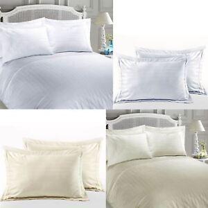 Calidad-de-hotel-de-lujo-a-rayas-100-Algodon-Egipcio-Saten-Satin-funda-nordica