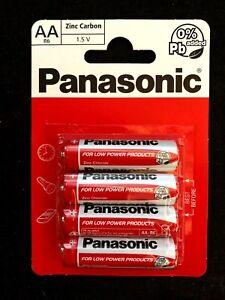 4 x AA Genuine PANASONIC Zinc Carbon Batteries - New R6 1.5V Expiry 2021