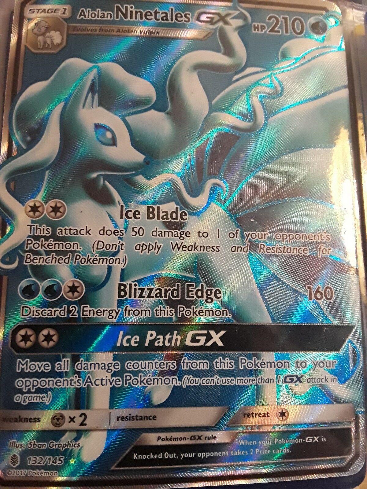 Pokémon alolan ninetales gx   132 voller kunst ultra selten wächter steigende nm   g16