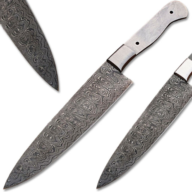 Build Your Own Damascus Steel Knife Blank Full Tang Silver Bolster 1095 HC  Chef