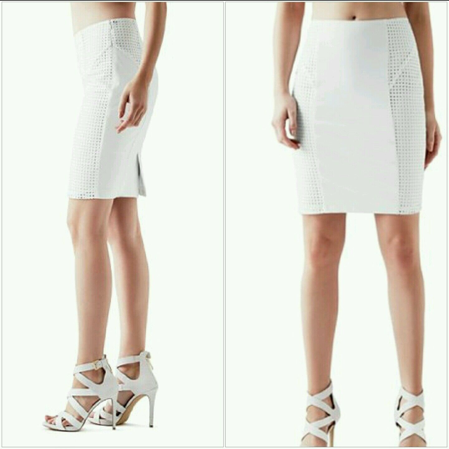 NWT guess white High-Rise Eyelet Pencil Skirt size XS