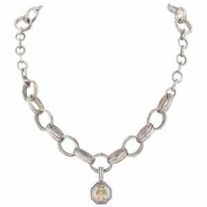 Initial Hexagon Pendant Necklace