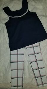 Janie and Jack Girls NWT Ivory Pink Navy Ponte Pant and Navy Top Size 6 SO CUTE!
