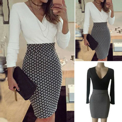 Women Office Formal Business Stretch Cocktail Party Evening Bodycon Pencil Dress