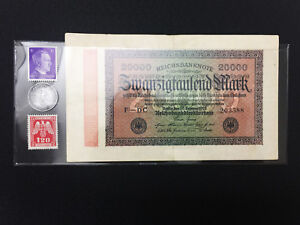 WW2  Rare 1RP German Coin and 2 Unused Stamps & German Bill in Holder.