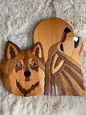 Wolf Head Wild Animal Intarsia Wood Wall Art Home Decor Plaque Lodge New