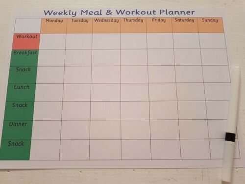 Wipe clean Weekly meal and workout planner exercise /& healthy eat with pen