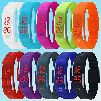 Mens Womens Wonderful Silicone Red LED Sport Bracelet Touch Digital Wrist Watch