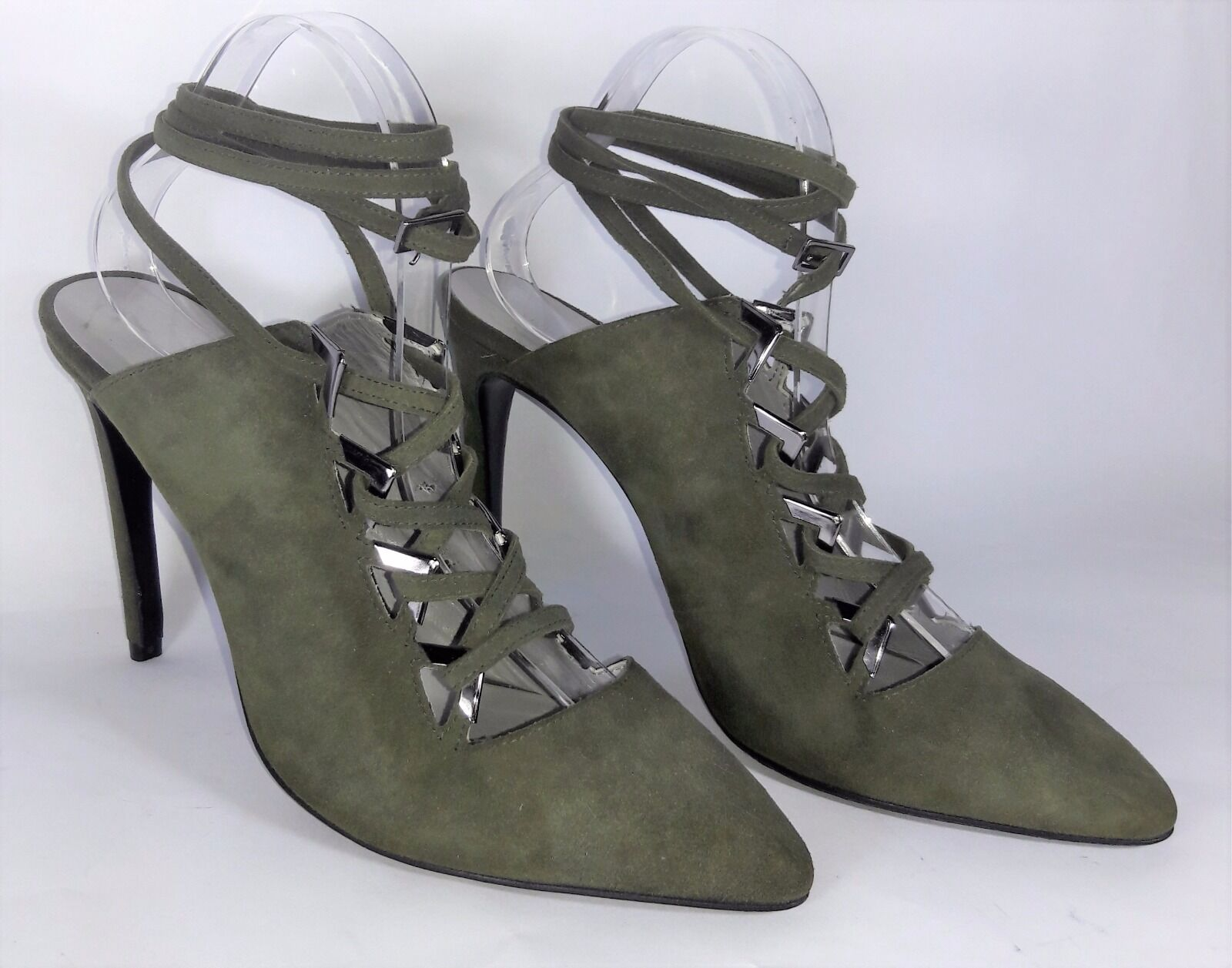 PREEN by THORNTON BREGAZZI 'Palmer' Sz 40 Olive Suede Lace-up Stiletto Mules