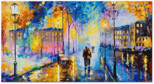 Made in Europe Acryl Gemälde Romantischer Abend 130x70cm Handgemalte Leinwand