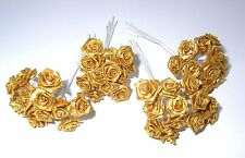 48 GOLD Wired Ribbon Roses Wedding Favours cake decoration craft card making