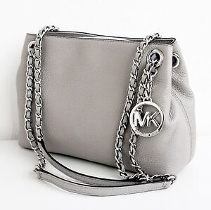 Michael-Kors-Tasche-Bag-Jet-Set-Chain-Item-MD-Chain-Messenger-P-Grey-NEU