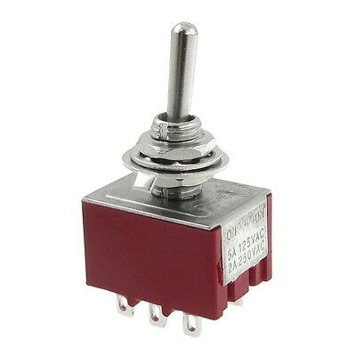 2A/250VAC 5A/125VAC on-on 2 Position 3P2T 3PDT 9 Solder Terminals Toggle Switch