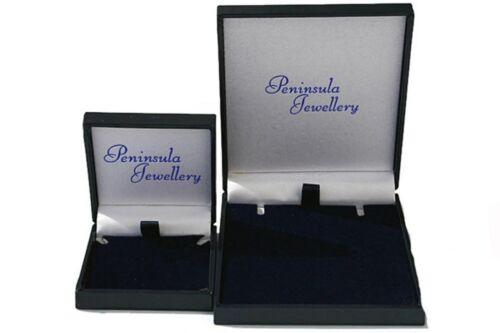 Oro 9ct Topacio Azul Oval En Caja De Regalo De Cadena Collar Colgante no hecho en Reino Unido