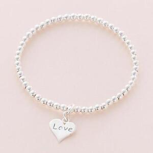 Image Is Loading Sterling Silver Bead Bracelet Stacking Charm Choice
