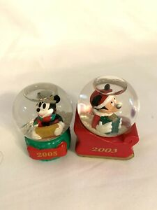 "Set Of 2 Mickey Mouse Snow Globe 2003 2005 Minitures Figurine Multicolor 2"" 2.5"""