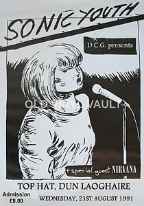 Image Is Loading Nirvana Vintage Concert Poster Top Hat Dublin Ireland
