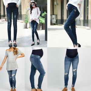Maternity-Pregnant-Woman-Ripped-Jeans-Pants-Trousers-Nursing-Prop-Belly-Legging