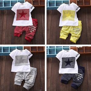 Младенческой Baby Boy парень девушка спортивной одежды топ Футболка + короткие брюки наряд наборы