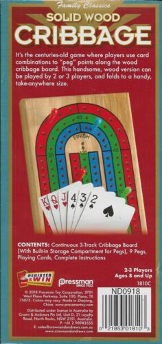 PRESSMAN TOYS Solid Wood Cribbage with cards and pegs NEW