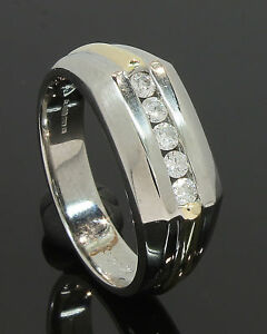 9-Carat-Yellow-amp-White-Gold-Gents-Diamond-Set-Ring-0-25ct-Size-S-80-18-524