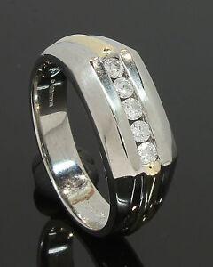 Oro-Amarillo-y-Blanco-9-quilates-Caballeros-Diamante-Set-Anillo-0-25ct-tamano-S-80-18-524
