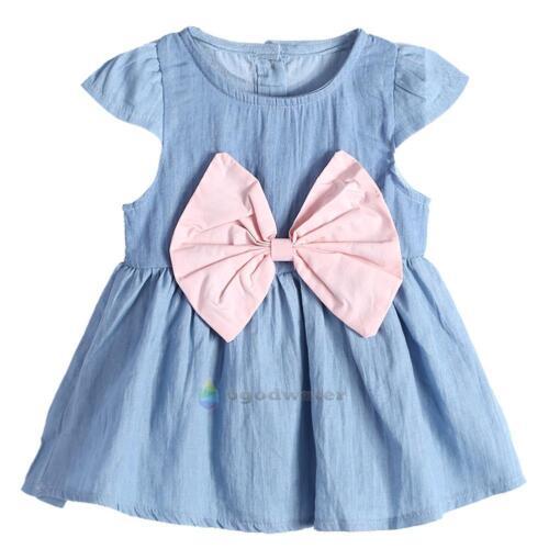Princess Baby Kids Girls Toddler Denim Jeans Dress Skirt Clothes Summer Dresses