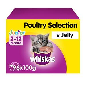 96 x 100g Whiskas 2-12 Months Kitten Cat Food Pouches Mixed Poultry in Jelly