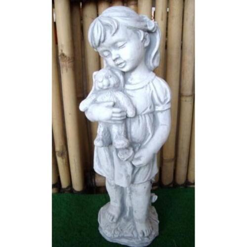 Kleines Mädchen aus Steinguss mit Teddy