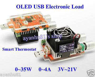 35W 4A OLED USB Electronic Load Capacity Tester Volt Amp Energy Power Temp Time