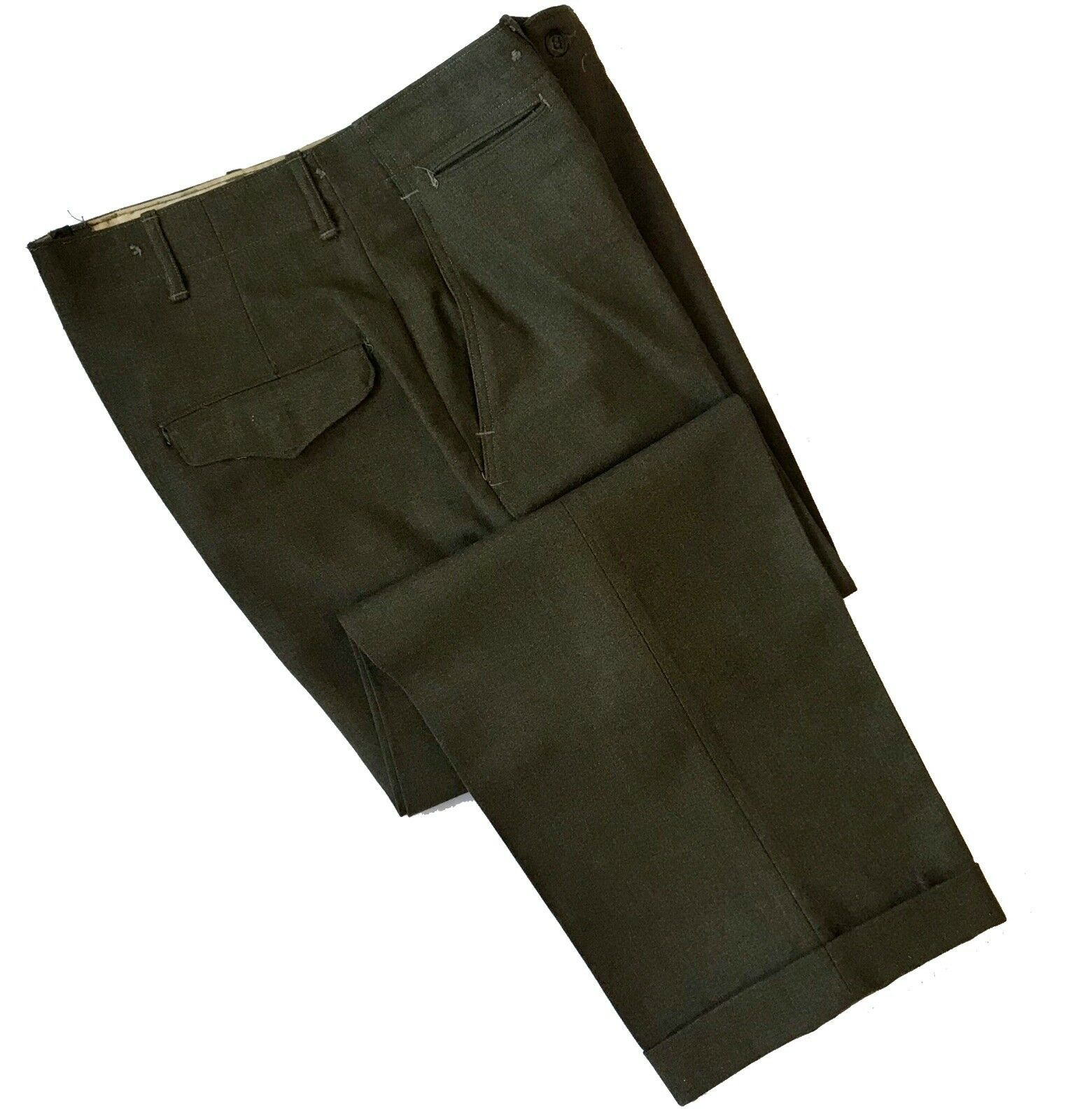 Vintage Military Utility Pants 5 Button 100% Wool Army Green Size W 31 x L 33