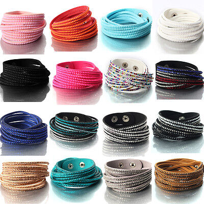 Women Multi-Layer Crystal Bangle Leather Wrap Bracelet Cuff Wristband Charms