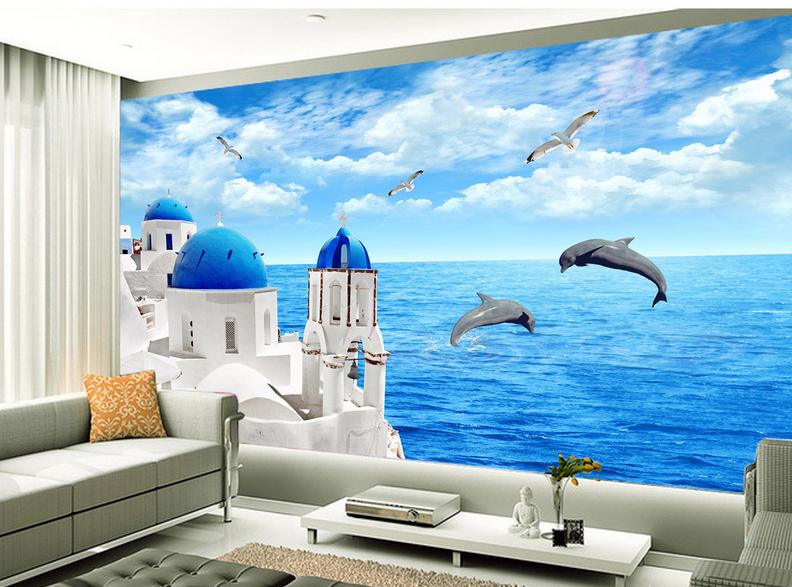 3D Blau Sky Bunker Dolphin9 Wallpaper Mural Paper Wall Print Wallpaper Murals UK