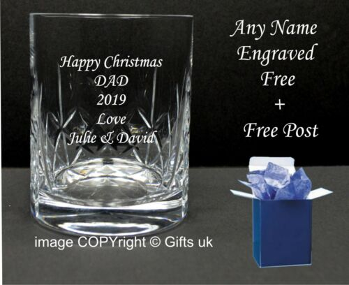 Birthday Gift Retirement Personalised Engrave Cut Crystal Whisky Spirit Glass
