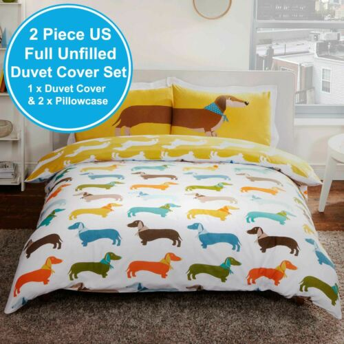 SAUSAGE DOG DOUBLE DUVET COVER SET 2 in 1 NEW