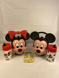 Vintage-Aladdin-Original-Mickey-and-Minnie-Lunchboxes-Both-With-Thermos