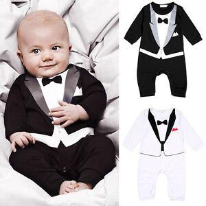 jungen kinder baby smoking overall anzug strampler kleidung mit druck fliege neu ebay. Black Bedroom Furniture Sets. Home Design Ideas