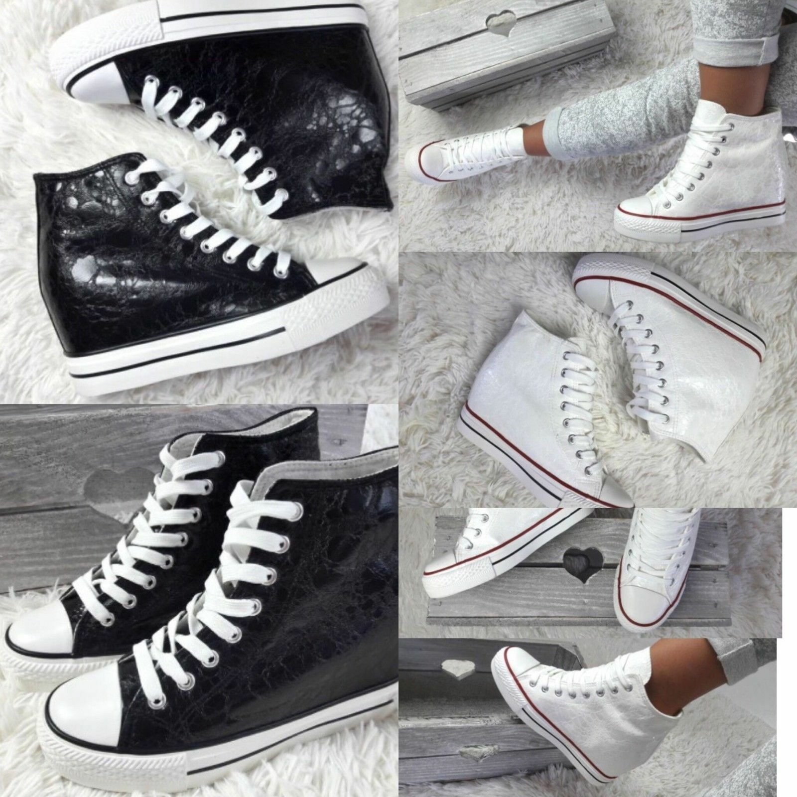 Womens-Ladies Sneakers,Train<wbr/>ers High Wedge Lace Up White/Black NEW*UK STOCK