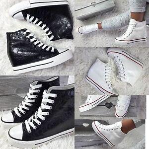 Debardeur-femmes-baskets-baskets-hautes-compensees-a-lacets-noir-blanc-neuf-uk-stock