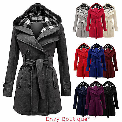LADIES BELTED BUTTON COAT WOMENS HOOD JACKET TOP 8-14