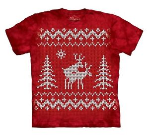 The-Mountain-Brand-Reindeer-Style-Ugly-Christmas-Sweater-CrossStitch-T-Shirt-Red