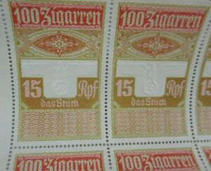 Rare-Uncut-German-Cigar-Tax-Revenue-Stamp-Sheet-Embossed-Eagle-WW2-Nazi-Era